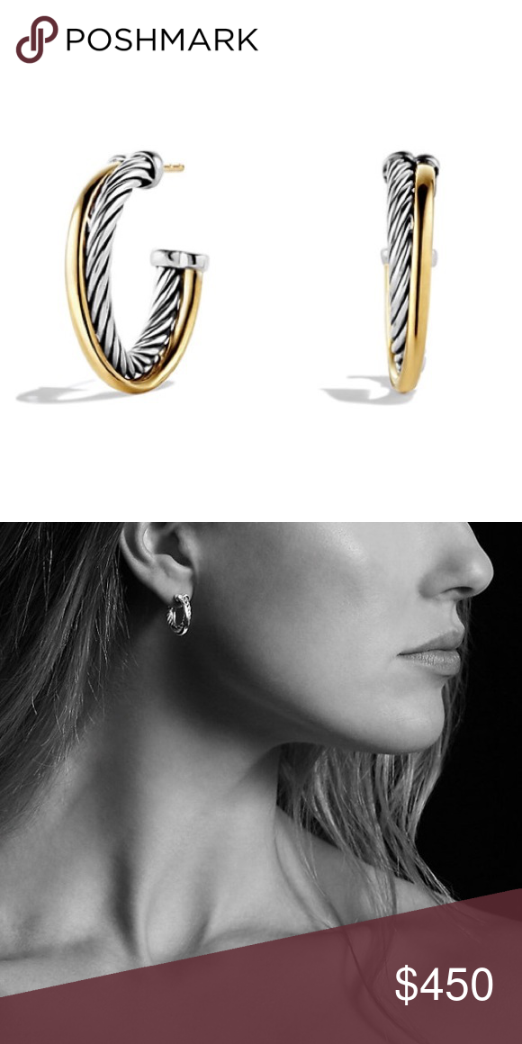 Dy Crossover Hoop Earrings With 18k Gold Authentic David Yurman From The Collection Sterling Silver