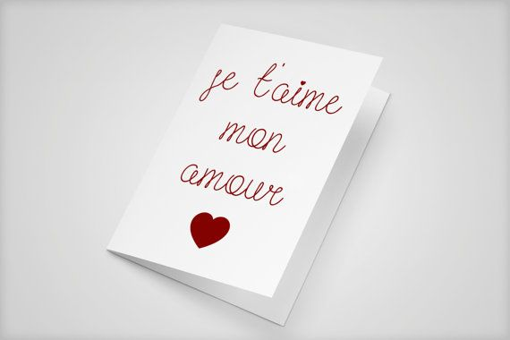 Je T Aime Mon Amour Love Card Heart Card Valentines Love