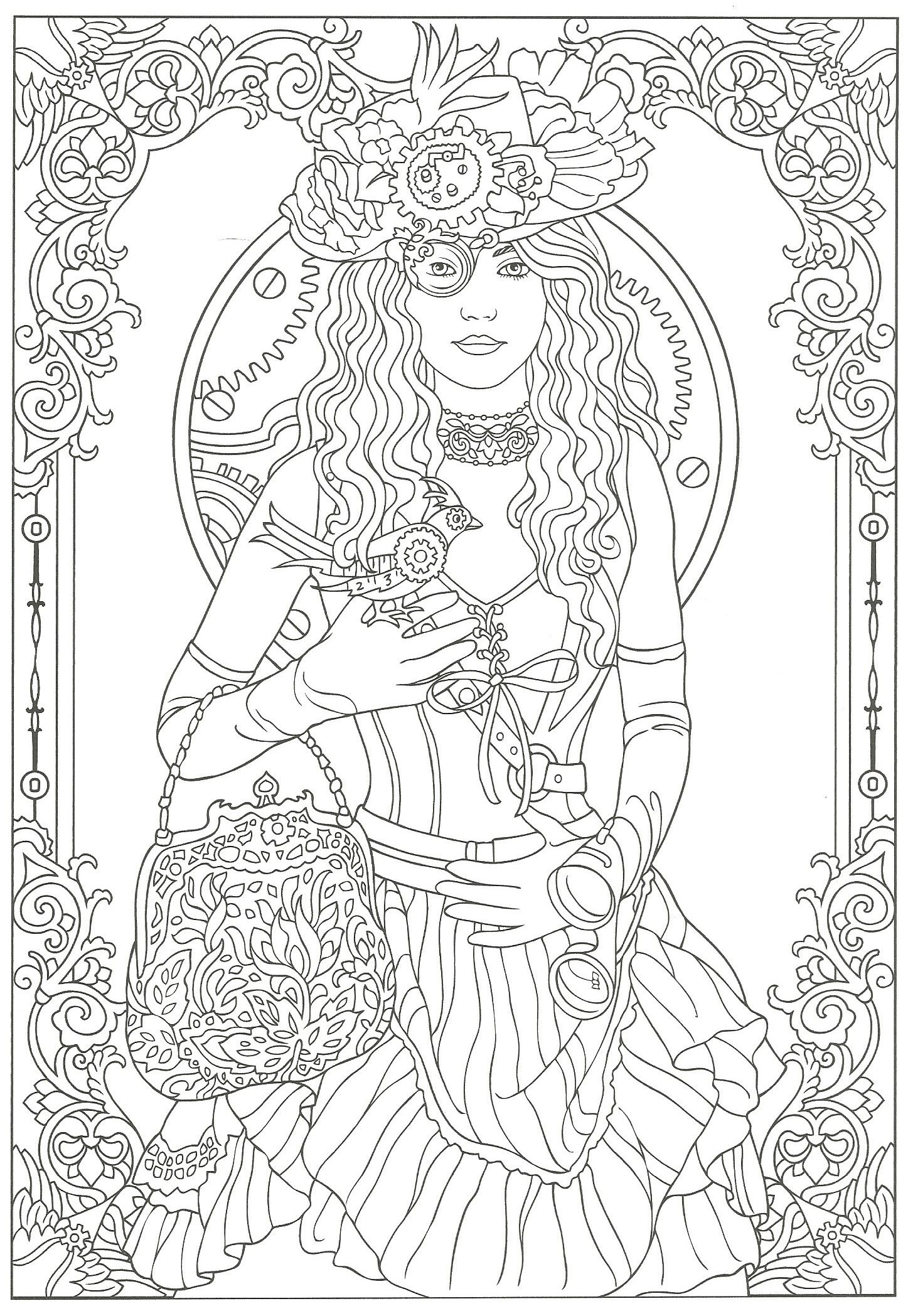 Steampunk Adult Coloring. Artwork by Marty Noble. Creative Haven ...