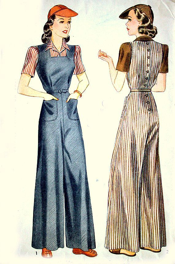 1940s Simplicity Sewing Pattern Wide Leg OVERALLS with pockets and ...