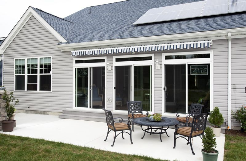 Retractable Estate Patio Awning With Scalloped Valance In A Closed And Secure Position Patio Patio Awning Windows