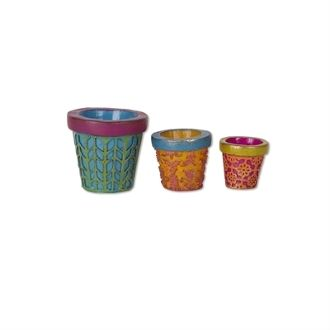 Set 3/Patterned Planters for Miniature Fairy Gypsy Gardens