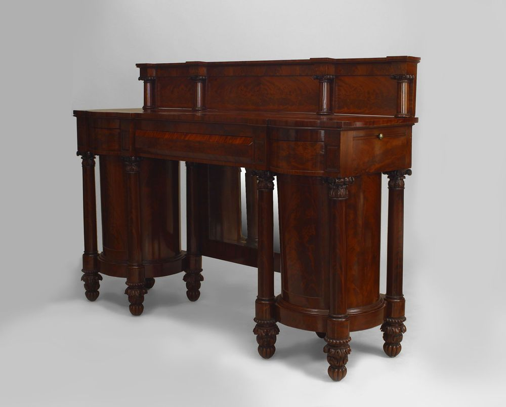 Beau American Empire Mahogany Sideboard With Two Pedestal Cabinets U0026 Four Carved  Columns.