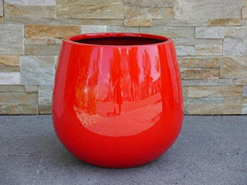 Pflanzkubel Yoro Aus Fiberglas Hochglanz 21x21x19cm In Rot