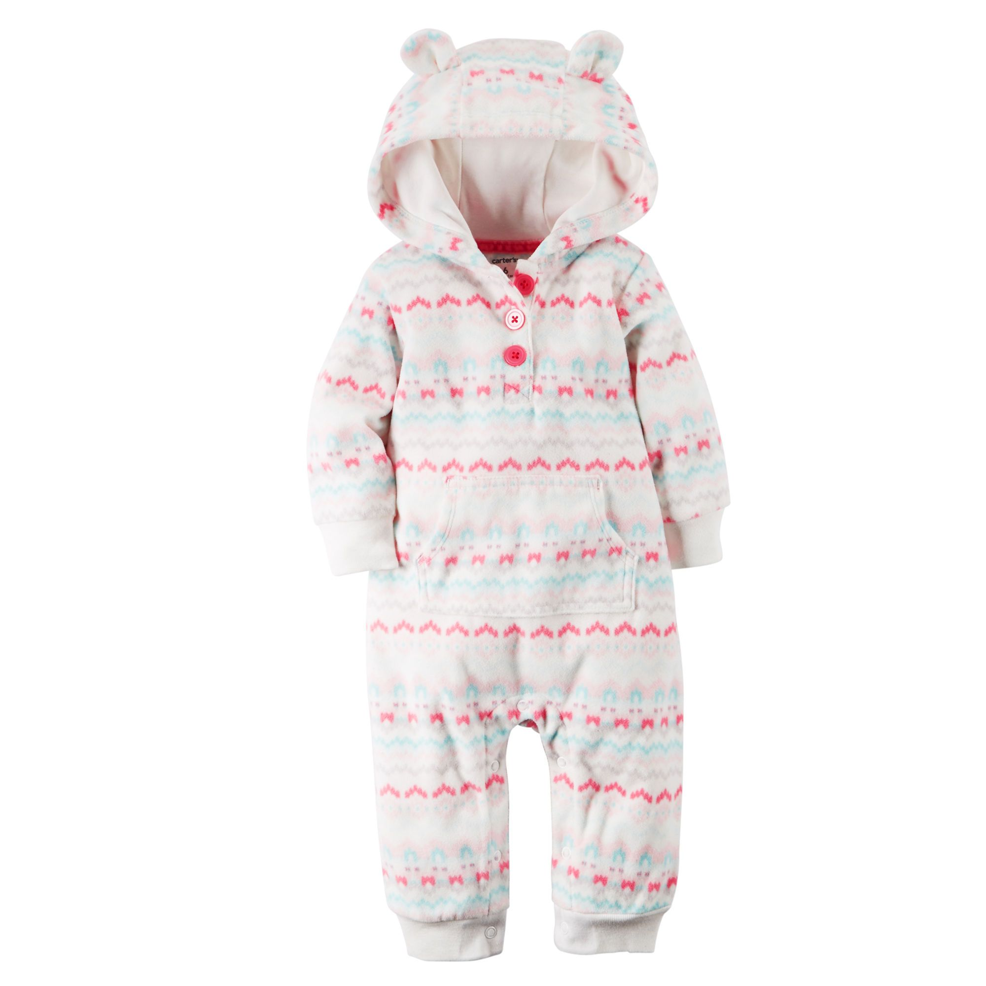 9c321eda276fc Baby Girl Hooded Fleece Jumpsuit