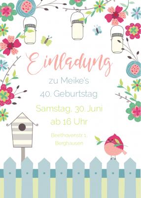 Romantische Einladungskarte Zum Geburtstag Mit Blumen, Lampions Und Vogel