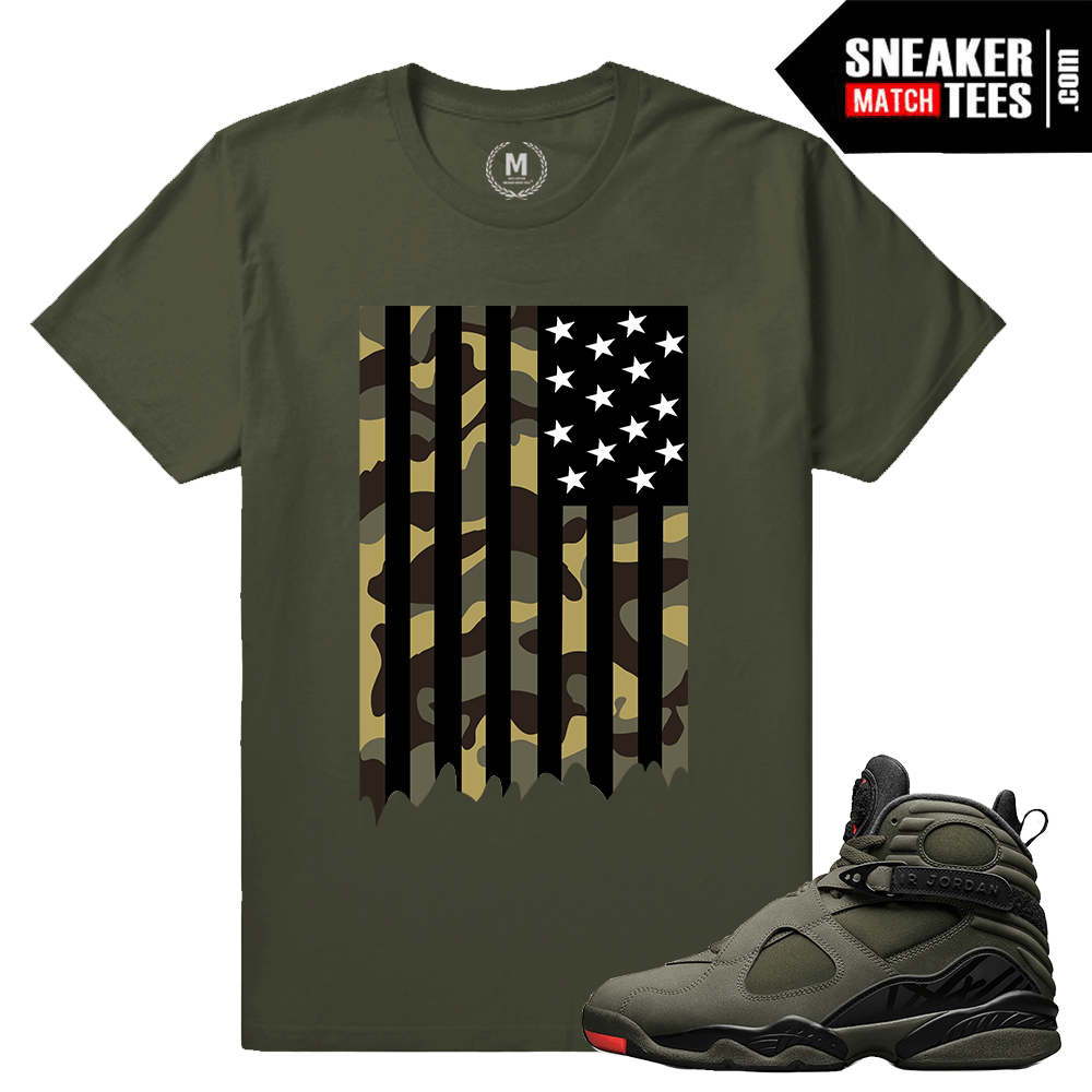ed677e64396 Match Jordan 8 Take Flight | Camo Flag | Military Green T shirt ...