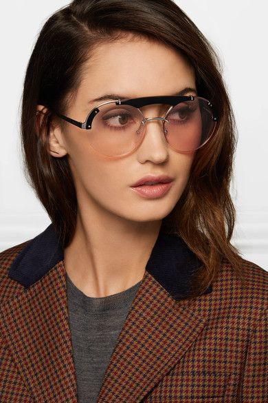 d9844e089ed Prada - Round-frame Acetate And Silver-tone Sunglasses - Pink ...