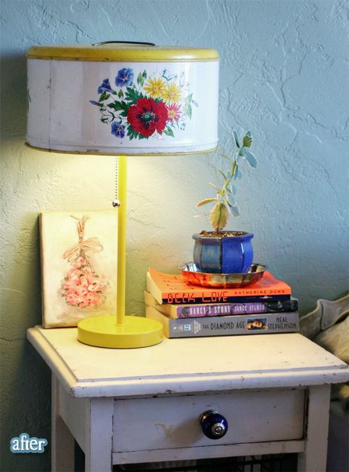 squee! a lovely old cake canister gets new life  as a lamp!