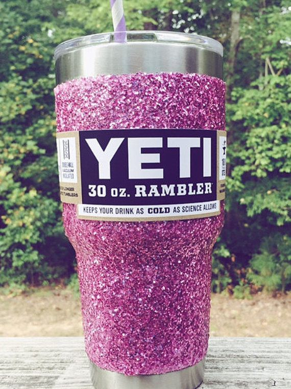 Glitter Yeti Rambler In Hot Pink With Lid Amp Bow Vinyls