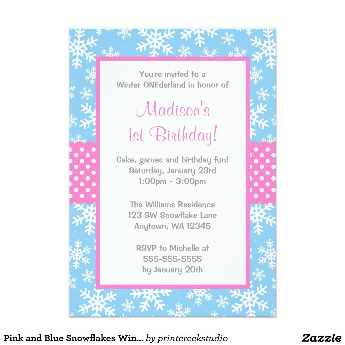 Pink and blue snowflakes winter ONEderland girl birthday invitations ...