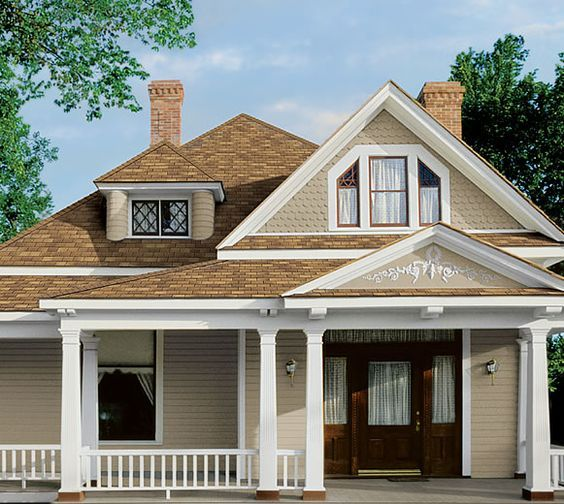 Tan House Green Trim Brown Roof Google Search