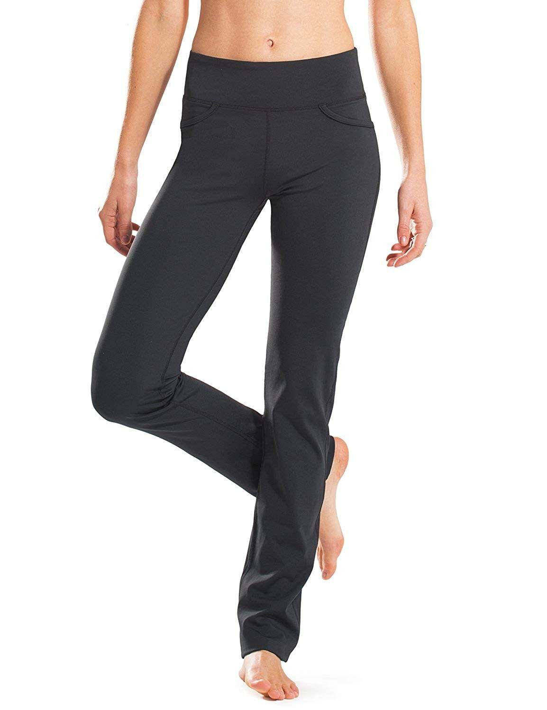 "28""/30""/32""/34"" Inseam Regular/Tall Mid-Waist Straight Leg Yoga Pants - Four Pockets - Non-See-Throu..."