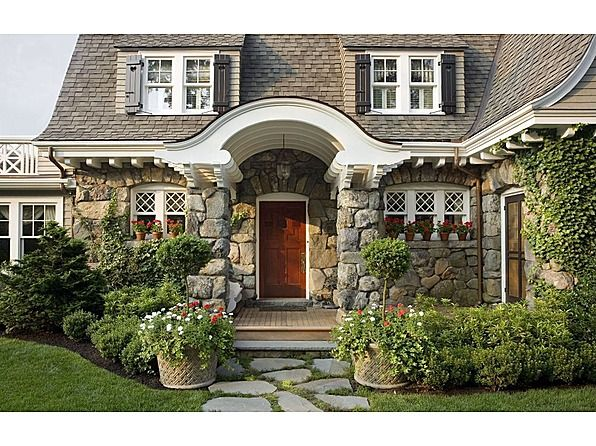 This Cottage Is The Ultimate Enchanted Cottage I Love The Builders Details Beams Wainscoting Cottage Style Homes Cottage Front Doors Shingle Style Homes