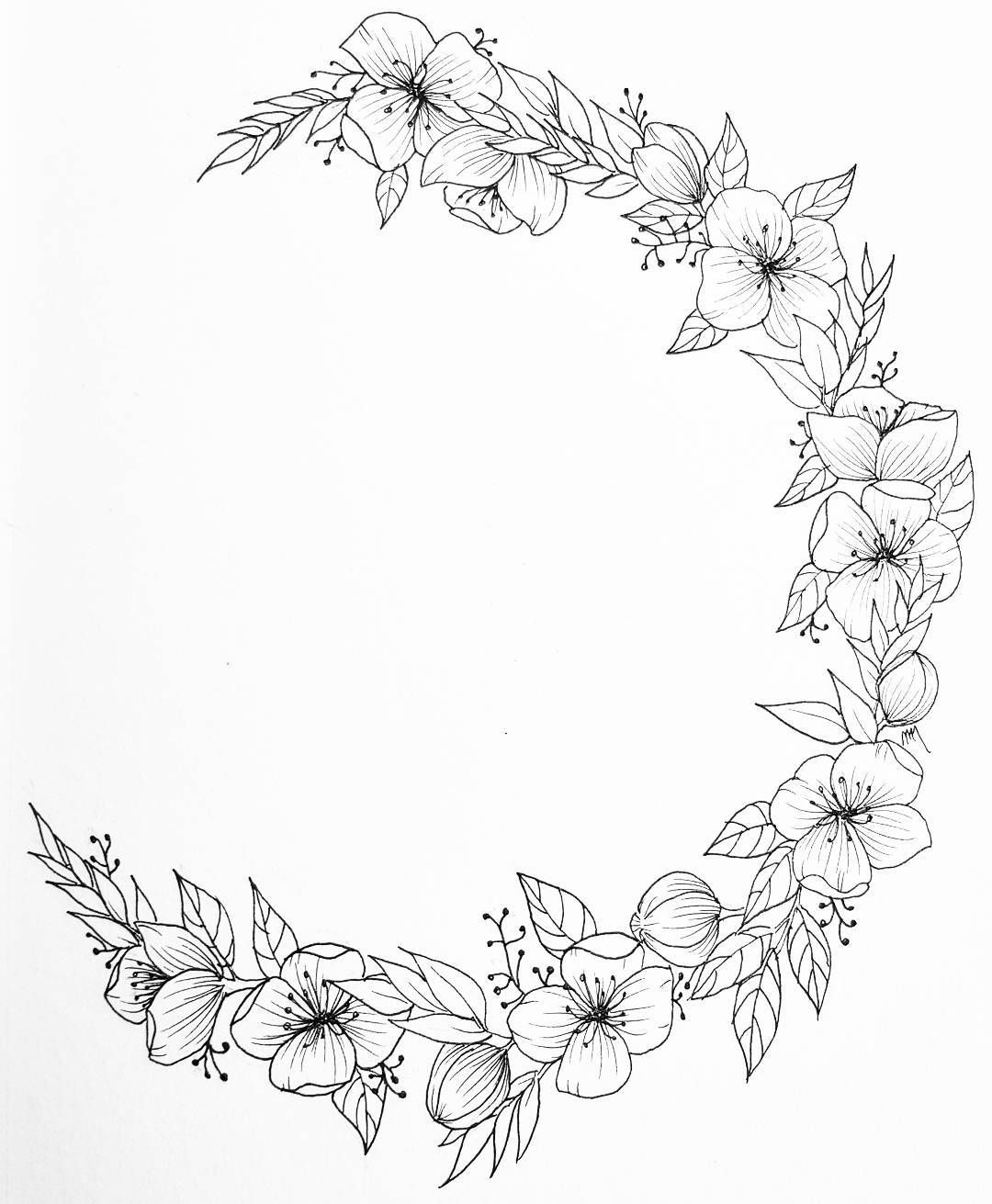 "Photo of Nikki on Instagram: ""Made a quick crescent flower wreath with some new microns last night 🌸 #floral #floralwreath #botanical #botanicalart # illustration…"""