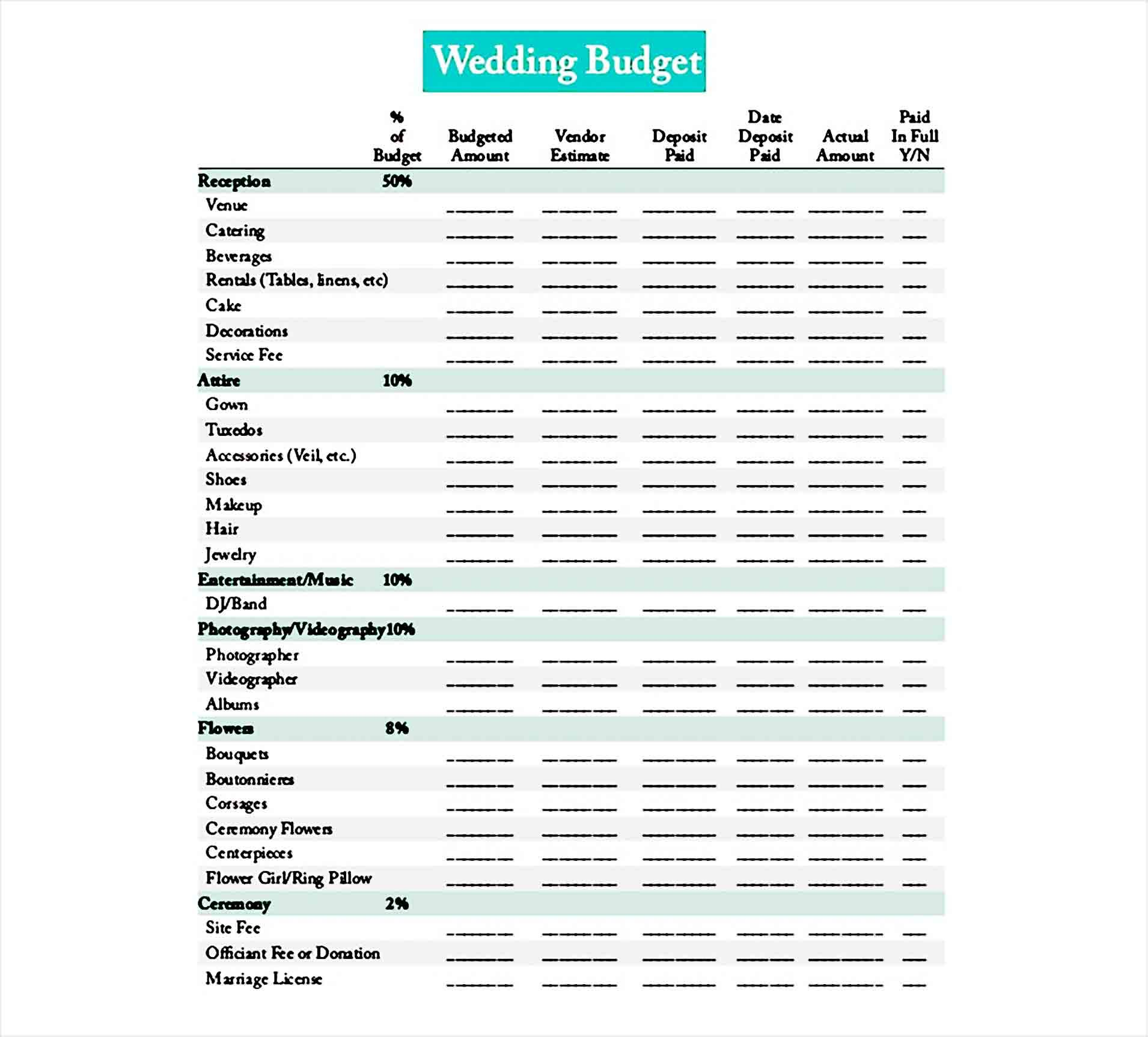 Printable Wedding Budget Di 2020