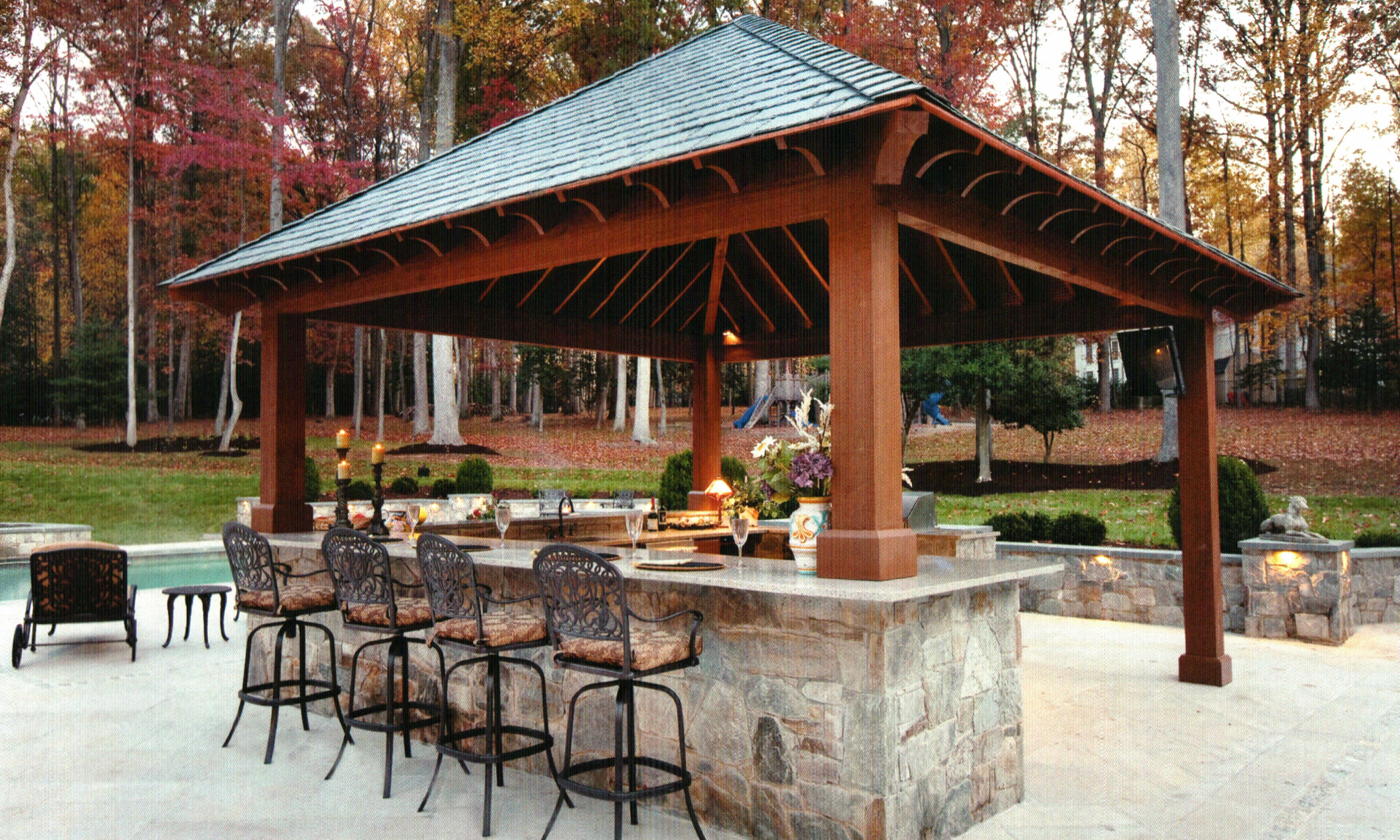 outdoor kitchen with bar design tool pool pergola