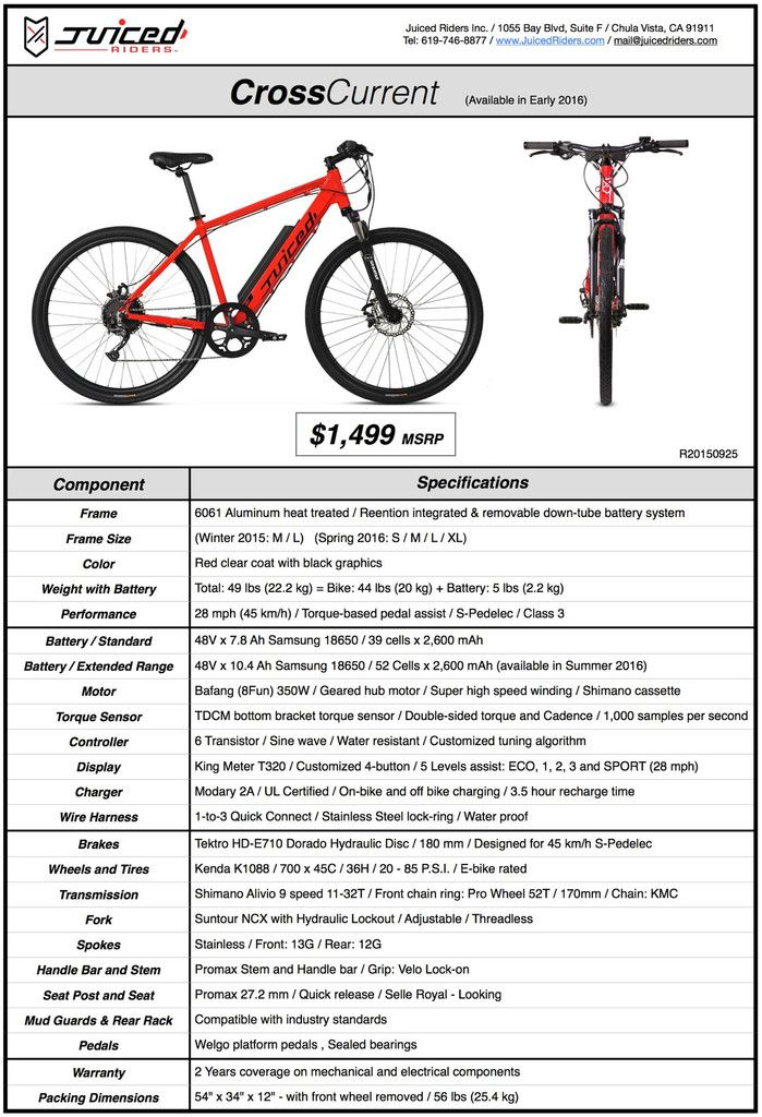 Technical Specifications For Cross Current Electric Bike Current