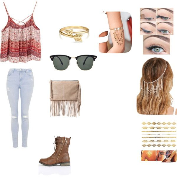Summer concert by fashion-momma on Polyvore featuring Topshop, MANGO, Bling Jewelry, Ray-Ban, Forever 21, musicfestivalstyle and polyvoreeditorial