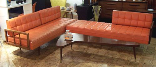 Orange Sectional Sofa / Daybed   Carter Brothers Furniture   Circa 1960