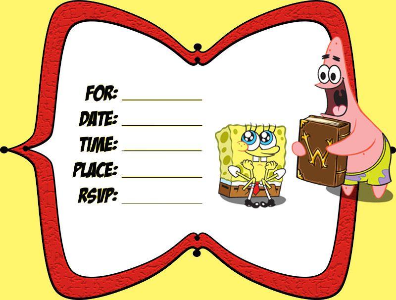 Spongebob And Patrick Birthday Invitation Template Invitation Template Birthday Invitation Templates Free Printable Invitations Templates