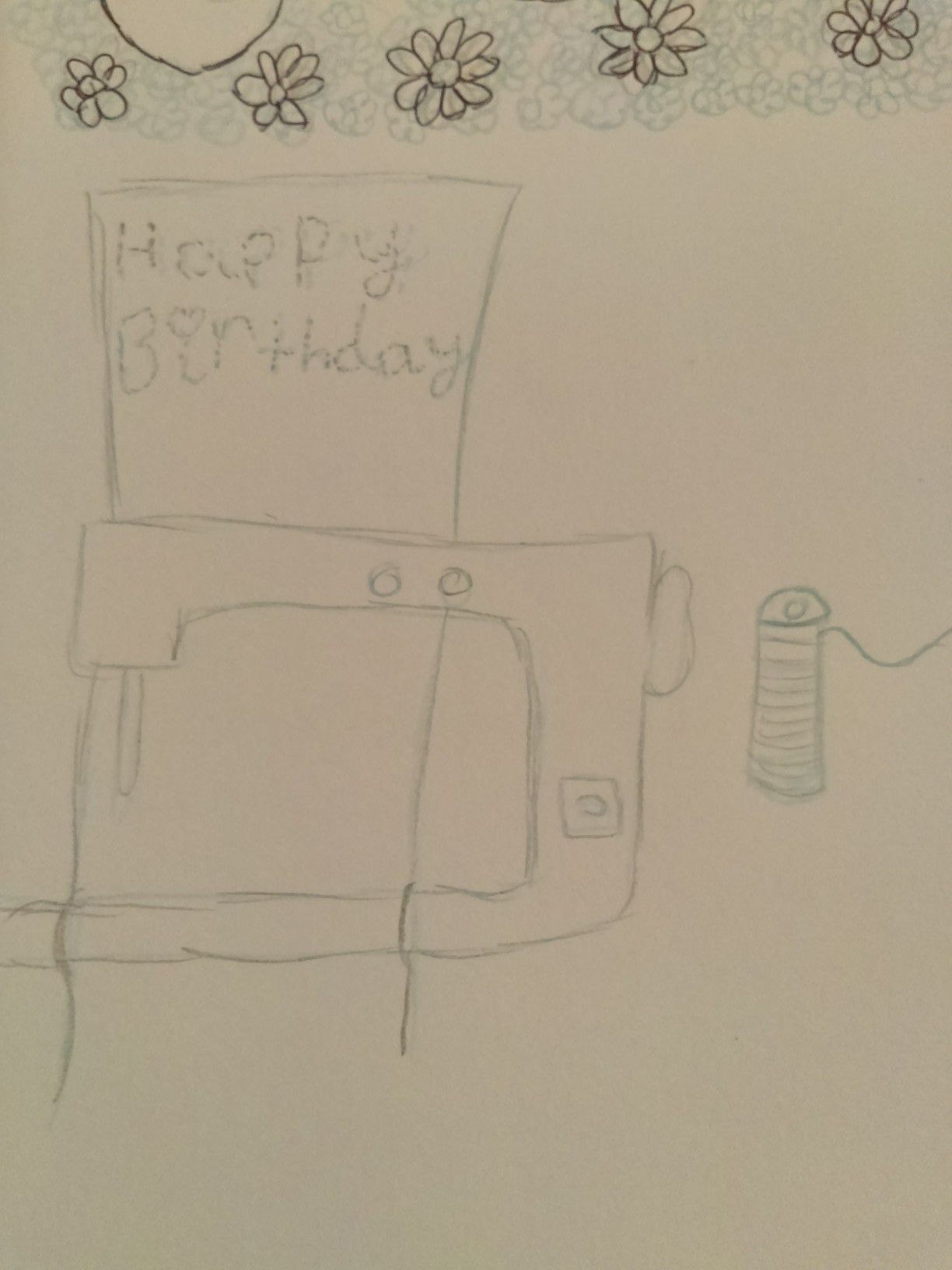 A pencil sketch of a family friend birthday card