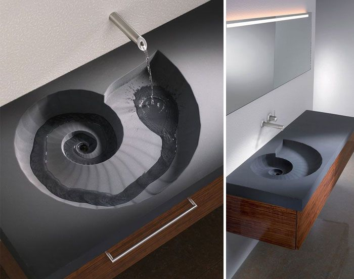Incroyable Comment Avoir Une Salle De Bain Original, Avoir Des Meubles Qui Décoiffent.  Vasque Ammonite