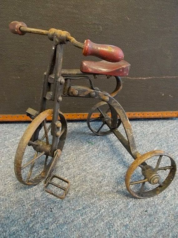 Sooo neat!  Antique Cast Iron Toy / Doll's Tricycle by simscreekantiquemall, $50.00