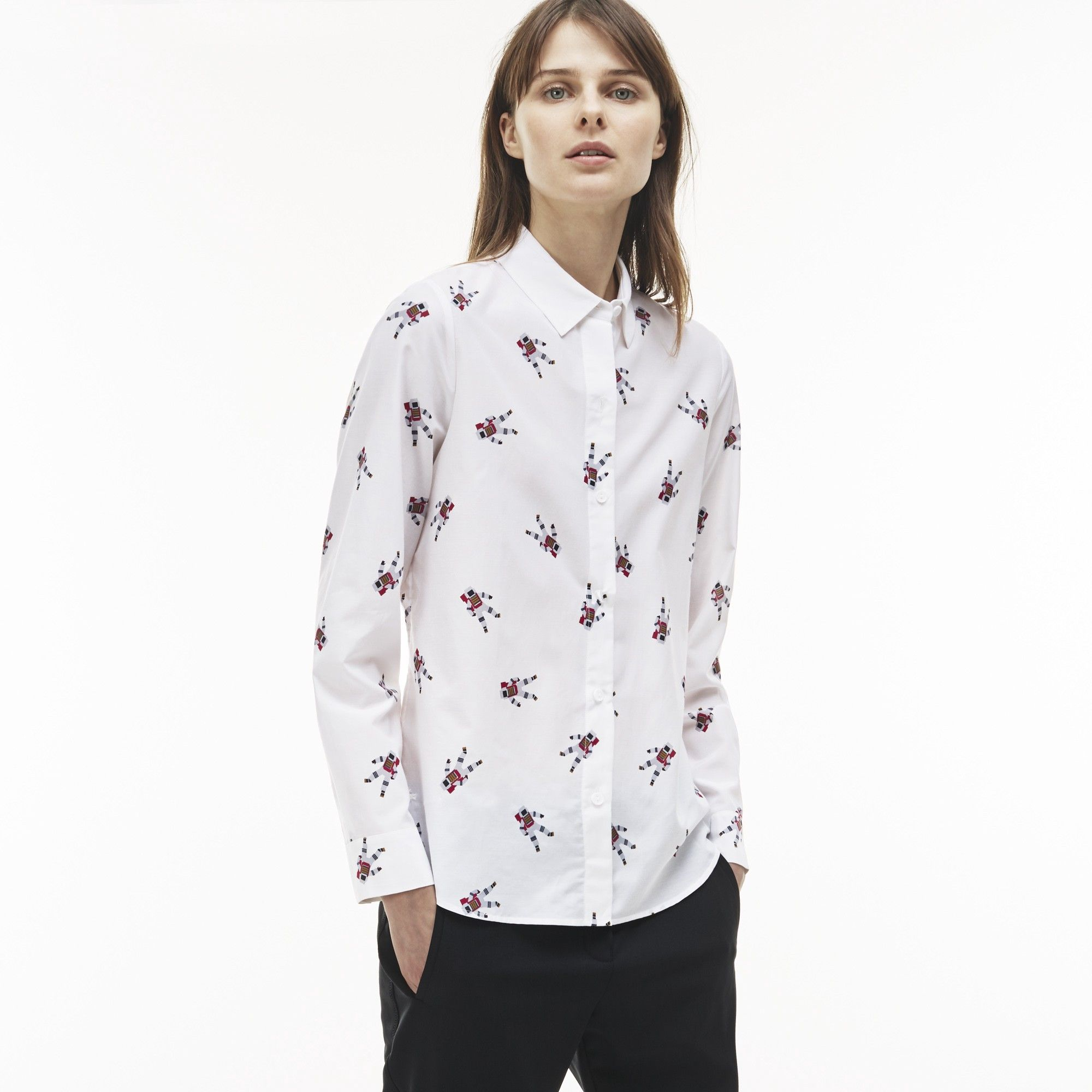 LACOSTE Women's Regular Fit Astronaut Print Cotton And Silk Voile Shirt -  WHITE. #lacoste