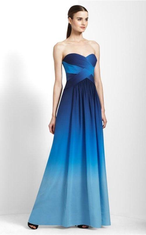 BCBG Molly Blue Ombre Strapless Chiffon Prom Dress [BCBG 10 ...