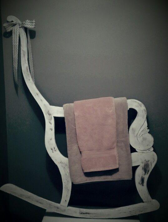 Broken Rocking Chair Turned Towel Rack For The Bathroom Hangs Or Stands