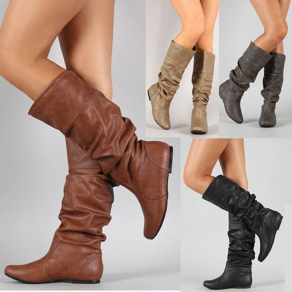 1d0f92e8ce6 Fashion Women Winter Shoes Flat Heel Solid Color Long Boots Pointed ...