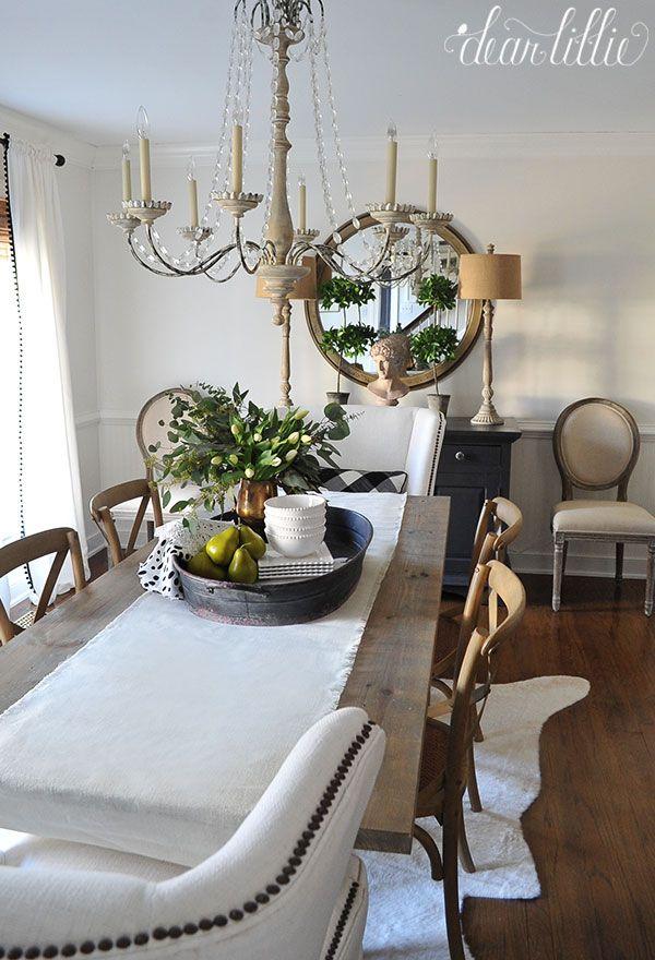 Black Tacks As Detail On White Upholstery Dinning Room Decor Dear Lillie Dining Birch lane dining room refresh