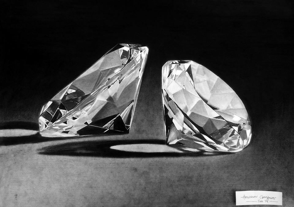 My drawing of diamonds ... made for charcoal
