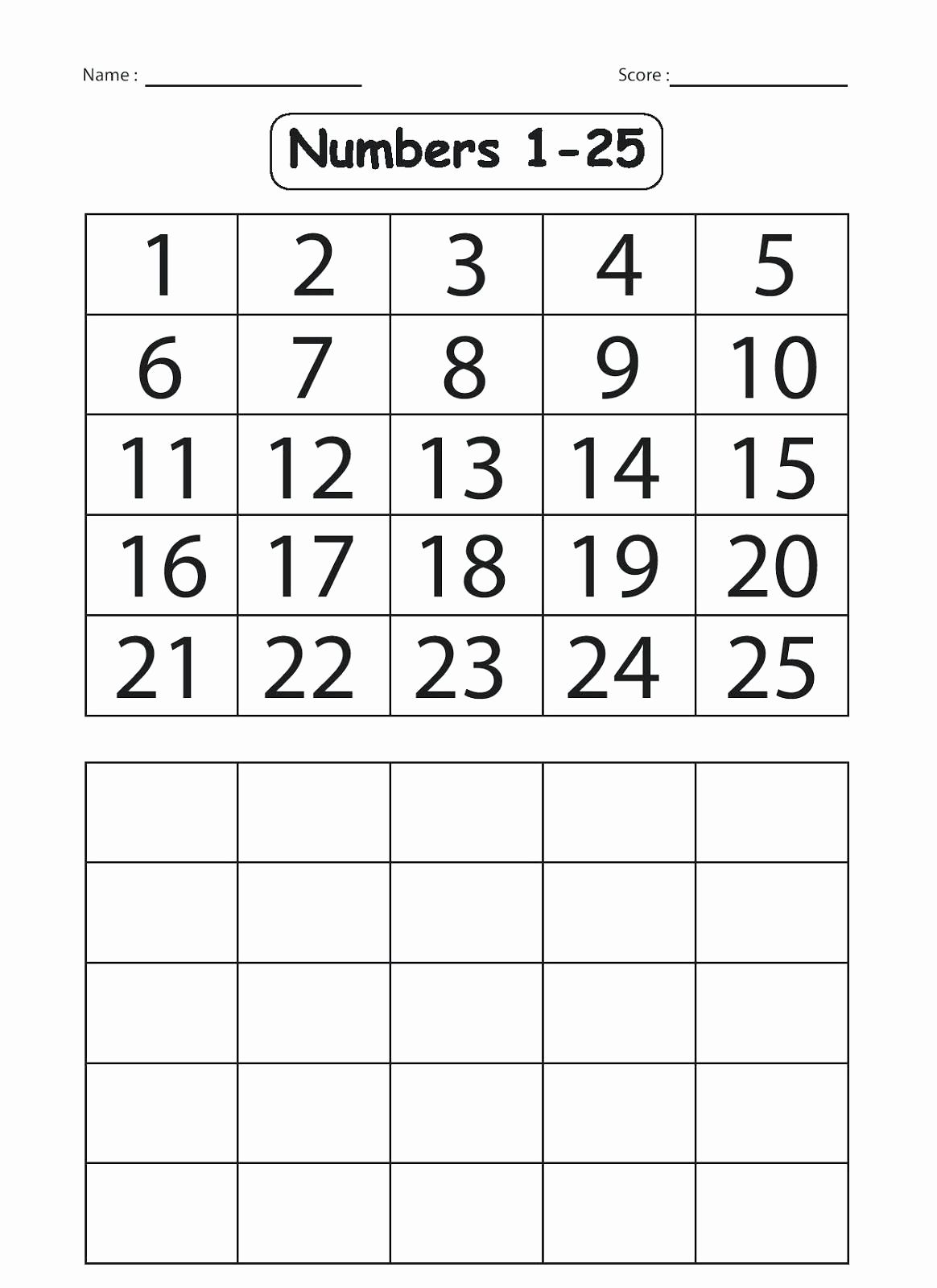 Numbers 1 50 Worksheet For Kindergarten In