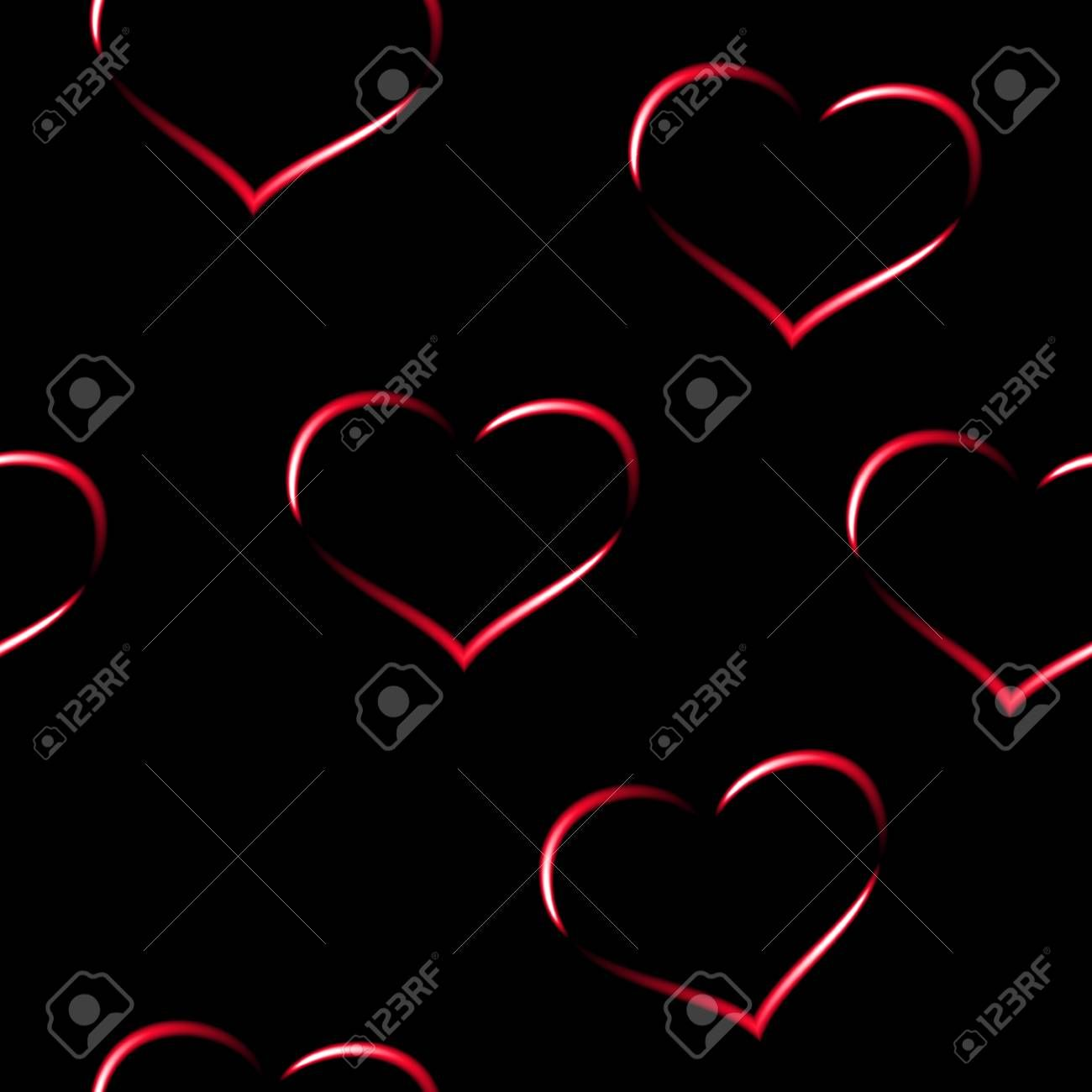 Red neon hearts seamless vector background