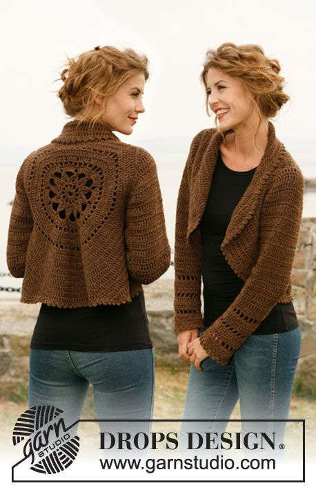 """cac16f74bf1285 Wild Flower - Crochet DROPS jacket worked in a circle in """"Nepal"""". Size  S  to XXXL - Free pattern by DROPS Design"""