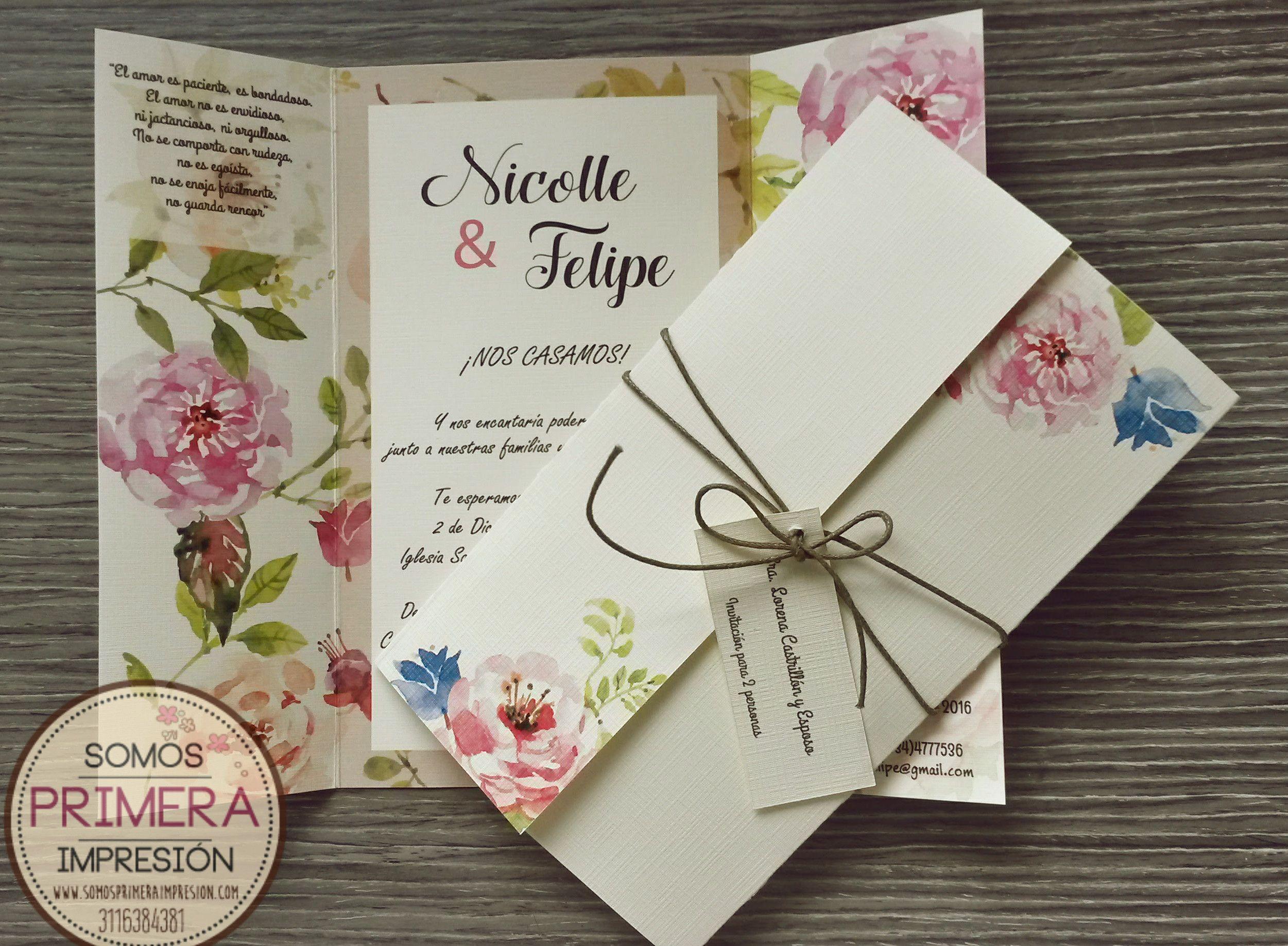 Tarjeta De Invitación Para Boda Diseño Floral Contáctanos