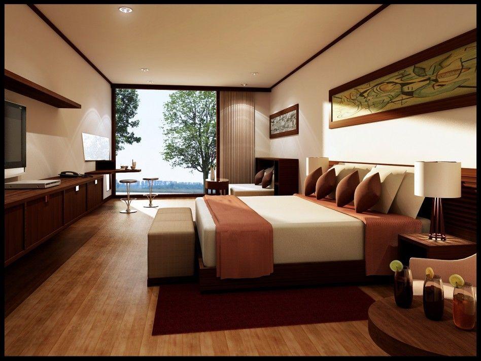 Captivating Elegant Cream Bedroom With Brown Laminated ...