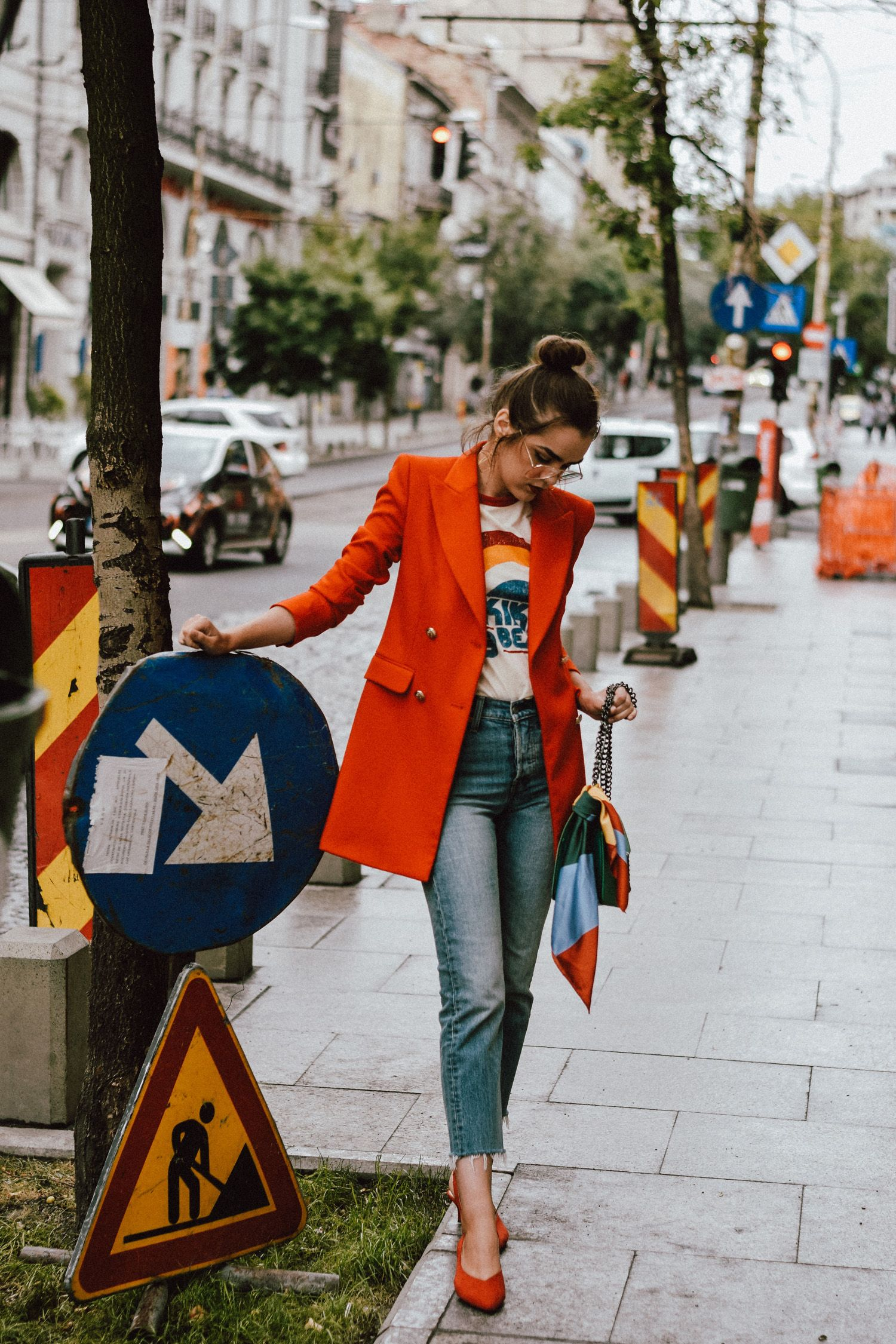 51a8fa06f819 Zara orange blazer, asos double breasted blazer, bold color jacket, gold  earrings, mango retro graphic tee, printed colorblock t-shirt, levi's light  was 501 ...