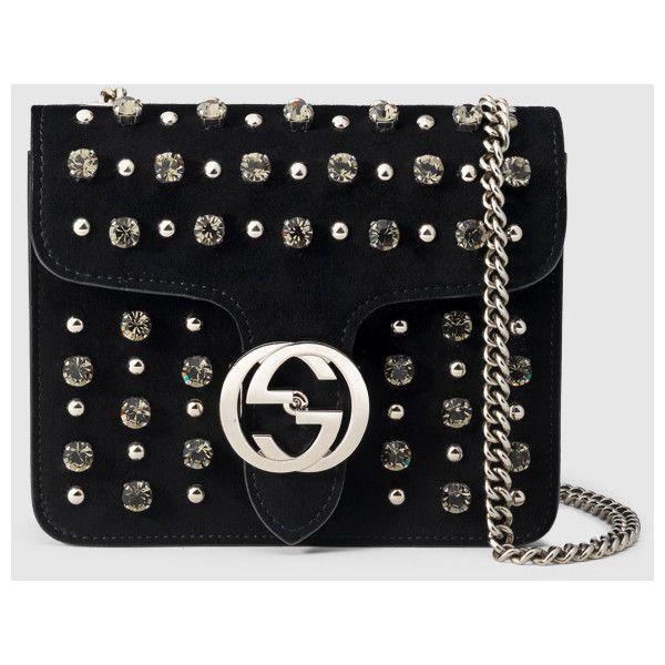 Gucci gucci interlocking studded suede shoulder bag ($2,035) ❤ liked on Polyvore