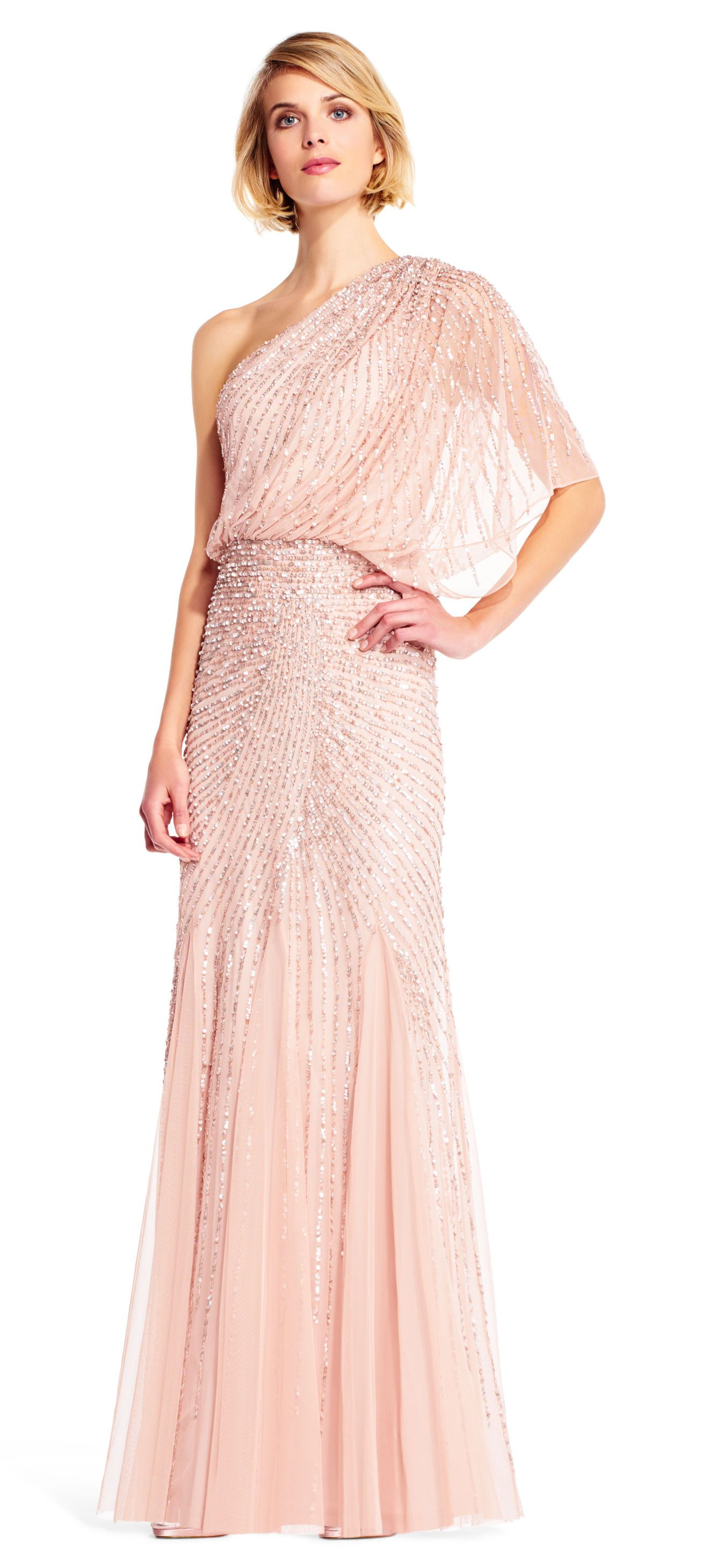Adrianna Papell | One Shoulder Beaded Blouson Gown with Godet Skirt ...