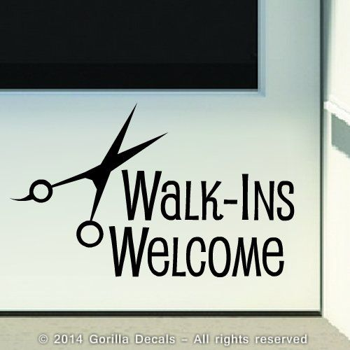 WALKINS WELCOME Hair Salon Barber Shop Store Front Door - Custom vinyl wall decals for hair salonvinyl wall decal hair salon stylist hairdresser barber shop