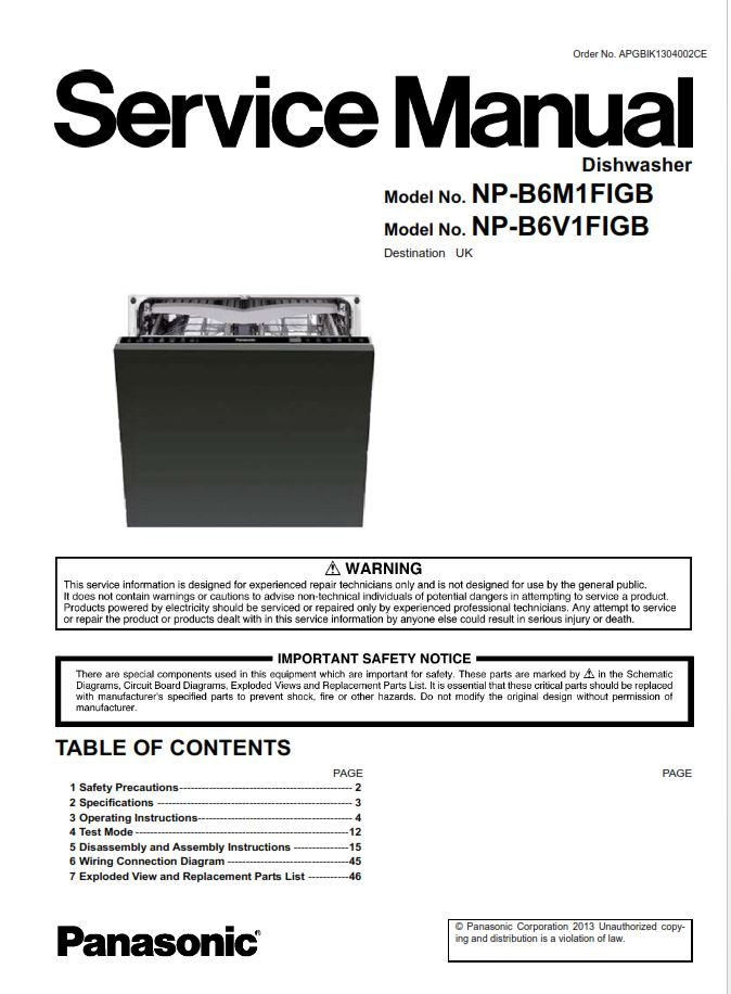 Panasonic NP B6V1FIGB B6M1FIGB Dishwasher Service Manual