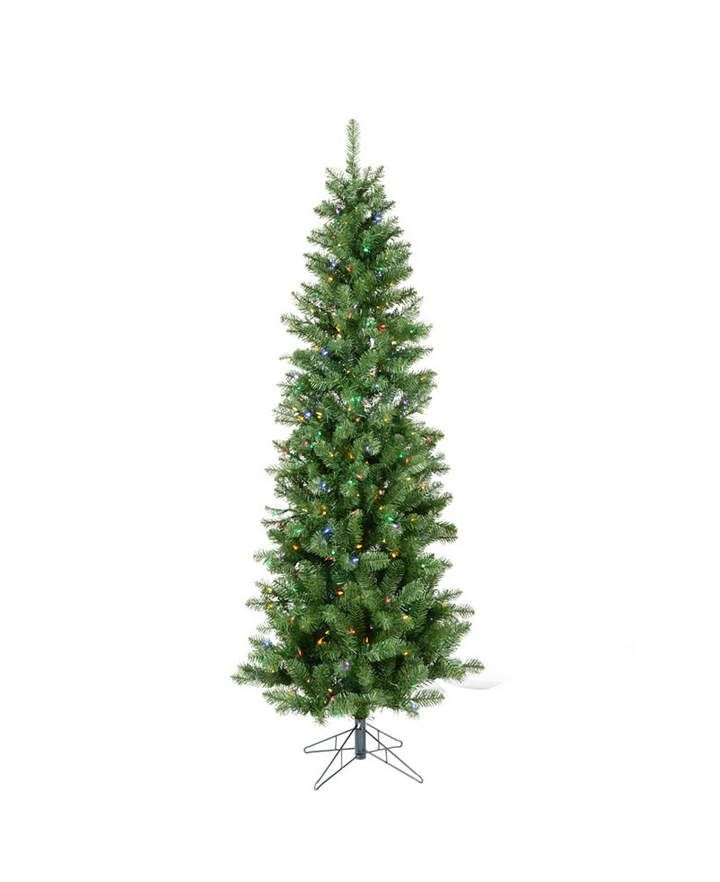 cc82ad7834c2 Vickerman 5.5 ft Salem Pencil Pine Artificial Christmas Tree With 200  Multi-Colored Led Lights