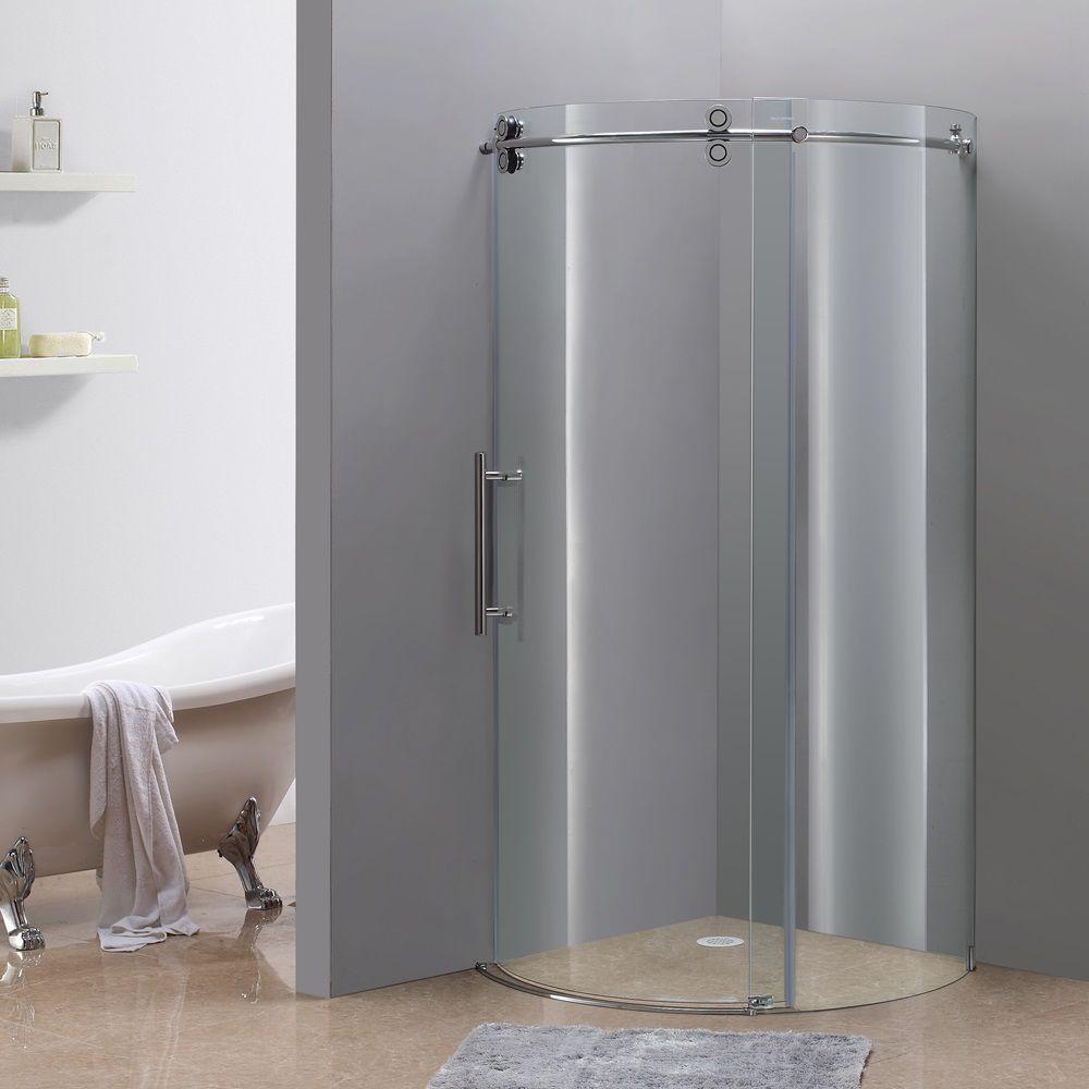 Orbitus 40 Inch X 40 Inch X 75 Inch Frameless Round Shower Stall