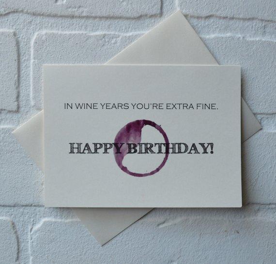 In WINE Years Youre Extra Fine BIRTHDAY Card Wine Lover Birthday Friend Happy Bi