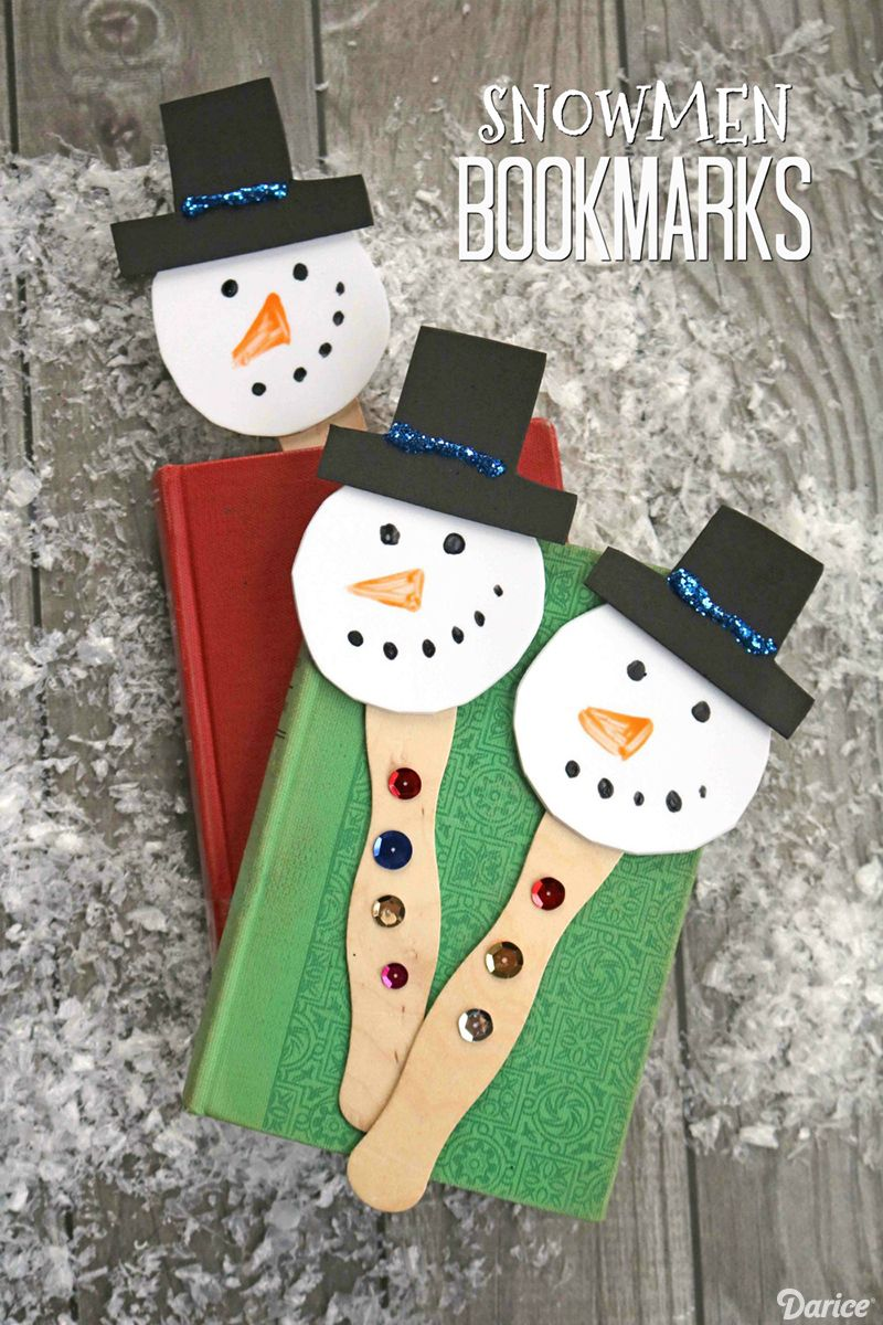 Easy Snowman Crafts For Kids Foam Bookmarks Darice Glued To My
