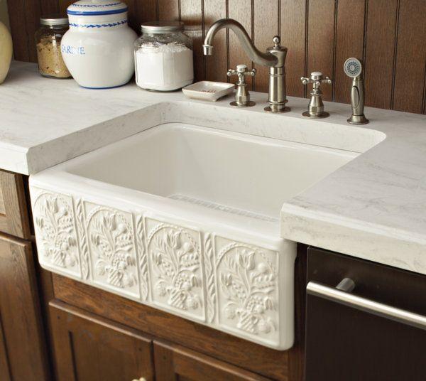 Farm Sink Surrounded By Rain Cloud Corian® Countertop