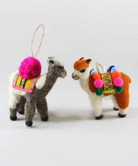 set of 2 felted llama christmas ornaments